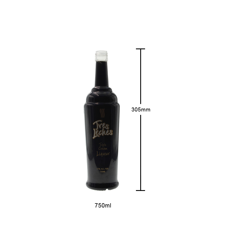 750ml Black Glass Bottle for Spirits Empty Glass Bottle