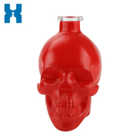 Red 700ml Skull Spirit Glass Bottle